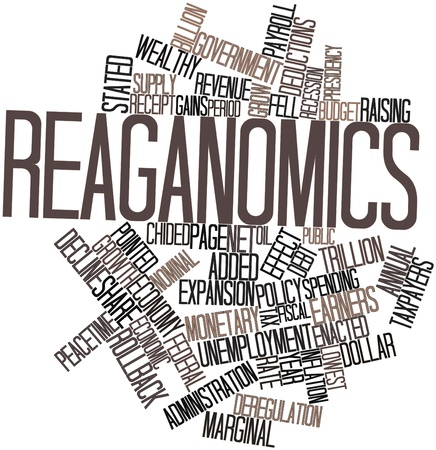 deregulation: Abstract word cloud for Reaganomics with related tags and terms
