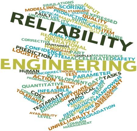 Nube palabra abstracta para ingeniería de confiabilidad con las etiquetas y términos relacionados Foto de archivo
