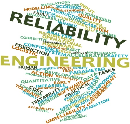 Abstract word cloud for Reliability engineering with related tags and terms Archivio Fotografico
