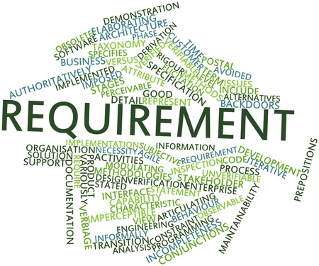 time specification: Abstract word cloud for Requirement with related tags and terms