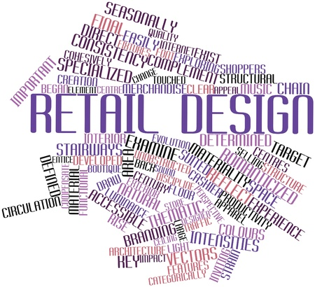 buoyant: Abstract word cloud for Retail design with related tags and terms Stock Photo