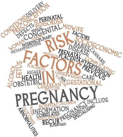 complications: Abstract word cloud for Risk factors in pregnancy with related tags and terms Stock Photo