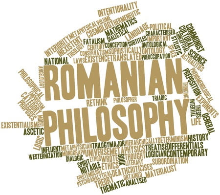 characterised: Abstract word cloud for Romanian philosophy with related tags and terms Stock Photo
