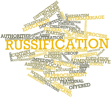 wartime: Abstract word cloud for Russification with related tags and terms