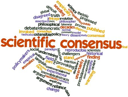 assertion: Abstract word cloud for Scientific consensus with related tags and terms