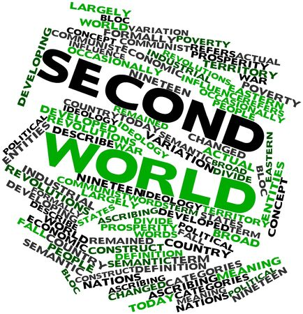 semantic: Abstract word cloud for Second World with related tags and terms Stock Photo