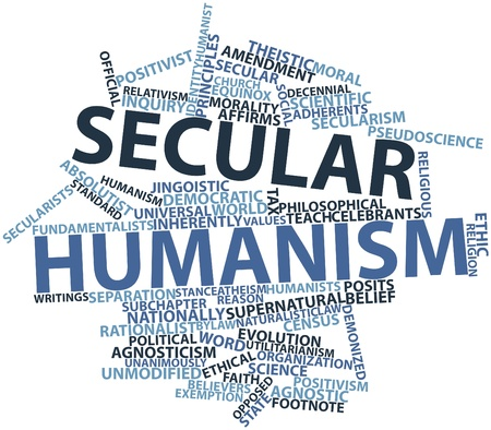 naturalistic: Abstract word cloud for Secular humanism with related tags and terms
