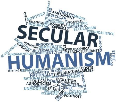 humanism: Nube palabra abstracta para el humanismo secular con las etiquetas y t�rminos relacionados Foto de archivo