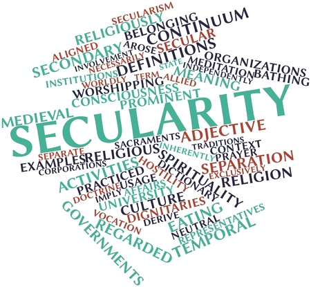 Abstract word cloud for Secularity with related tags and terms Stock Photo - 17147628