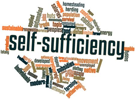Abstract word cloud for Self-sufficiency with related tags and terms Stock Photo - 17142075