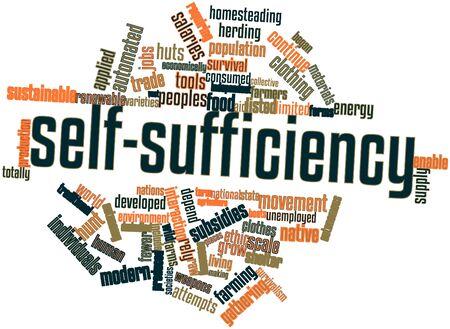autonomia: Nube palabra abstracta para la autosuficiencia con las etiquetas y términos relacionados