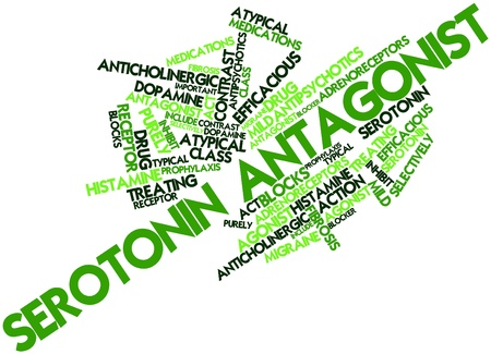 anticholinergic: Abstract word cloud for Serotonin antagonist with related tags and terms