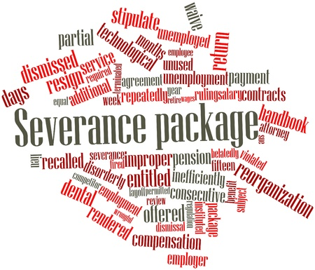 Abstract word cloud for Severance package with related tags and terms