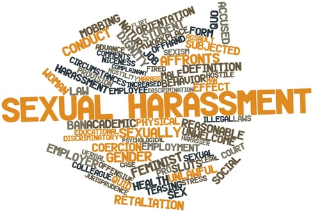 Abstract word cloud for Sexual harassment with related tags and terms Archivio Fotografico