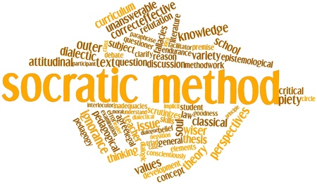 questioner: Abstract word cloud for Socratic method with related tags and terms