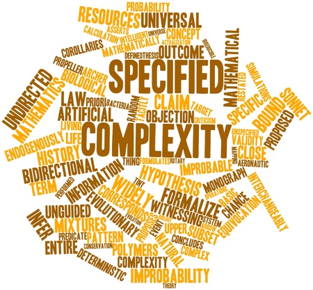 Abstract word cloud for Specified complexity with related tags and terms Stock Photo