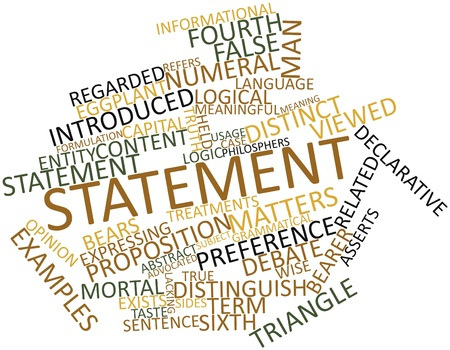 Abstract word cloud for Statement with related tags and terms Stock Photo