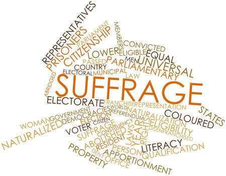 democracies: Abstract word cloud for Suffrage with related tags and terms Stock Photo