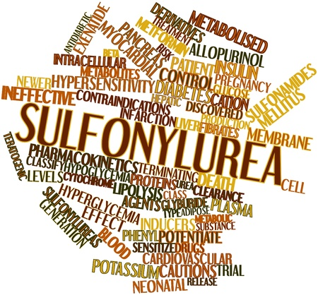 potentially: Abstract word cloud for Sulfonylurea with related tags and terms Stock Photo