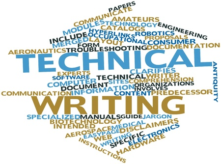 Abstract word cloud for Technical writing with related tags and terms Archivio Fotografico