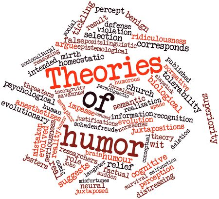 factual: Abstract word cloud for Theories of humor with related tags and terms Stock Photo