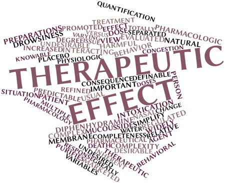 Abstract word cloud for Therapeutic effect with related tags and terms
