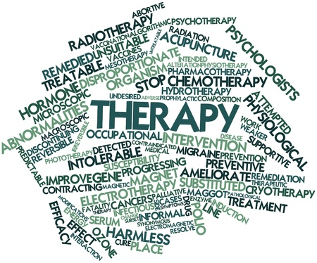 terapia ocupacional: Nube palabra abstracta para la Terapia con etiquetas y términos relacionados