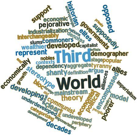 arbitrario: Nube palabra abstracta para el Tercer Mundo con las etiquetas y términos relacionados