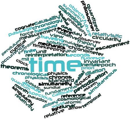escapement: Abstract word cloud for Time with related tags and terms Stock Photo