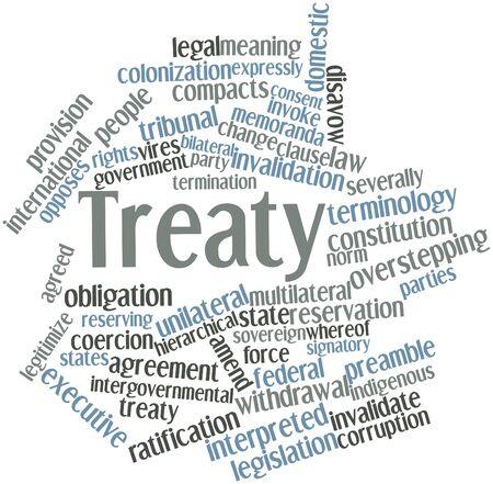 verdrag: Abstract woordwolk voor Verdrag met gerelateerde tags en voorwaarden