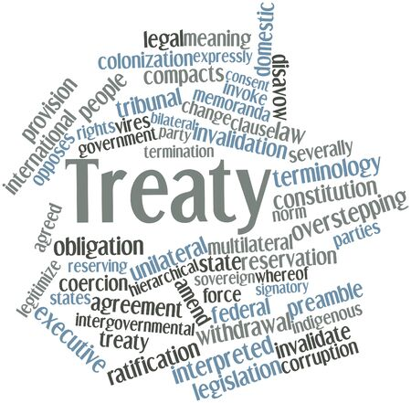 Abstract word cloud for Treaty with related tags and terms photo