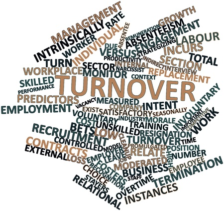 Abstract word cloud for Turnover with related tags and terms Archivio Fotografico
