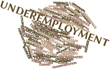 servicios publicos: Abstract Nube de la palabra de subempleo con las etiquetas y términos relacionados