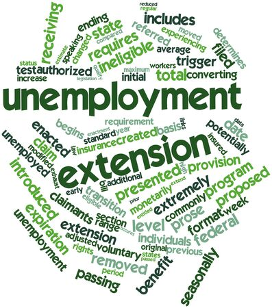 potentially: Abstract word cloud for Unemployment extension with related tags and terms Stock Photo