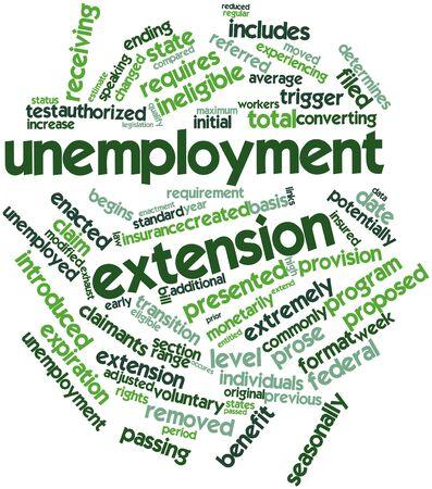 determines: Word cloud astratto per estensione disoccupazione con tag e termini correlati Archivio Fotografico