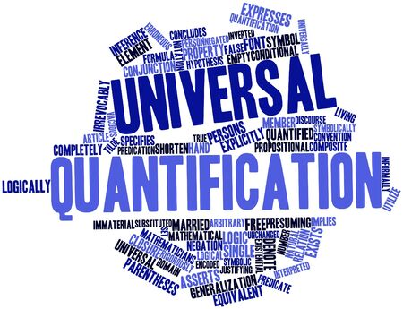 equivalent: Abstract word cloud for Universal quantification with related tags and terms Stock Photo
