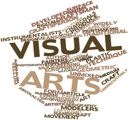 audiovisual: Abstract word cloud for Visual arts with related tags and terms