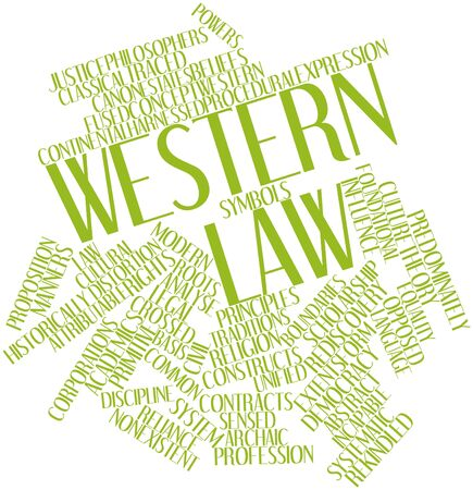 reliance: Abstract word cloud for Western law with related tags and terms Stock Photo