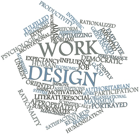 Abstract word cloud for Work design with related tags and terms photo