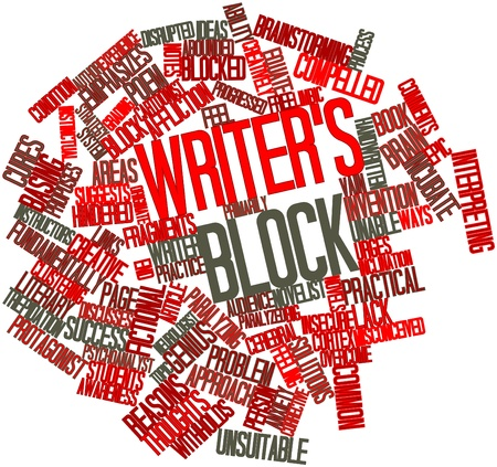 originate: Abstract word cloud for Writers block with related tags and terms Stock Photo