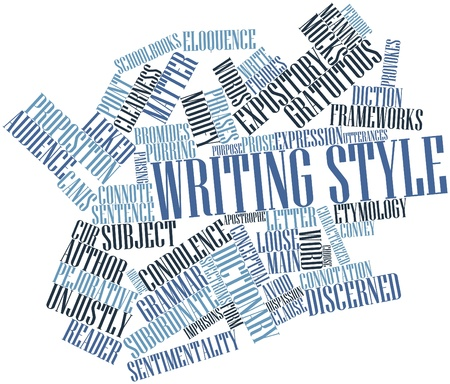 prose: Abstract word cloud for Writing style with related tags and terms Stock Photo