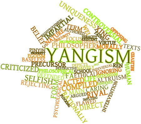 Abstraktes Wort-Wolke für Yangism mit verwandten Tags und Begriffe