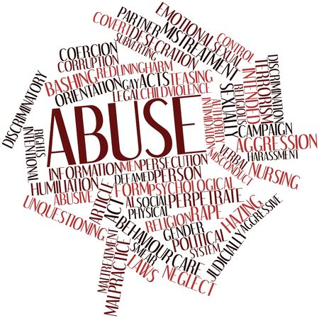 rape: Abstract word cloud for Abuse with related tags and terms Stock Photo