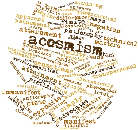 attainment: Abstract word cloud for Acosmism with related tags and terms