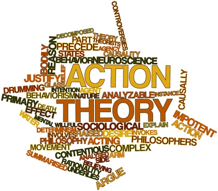 introduces: Abstract word cloud for Action theory with related tags and terms Stock Photo