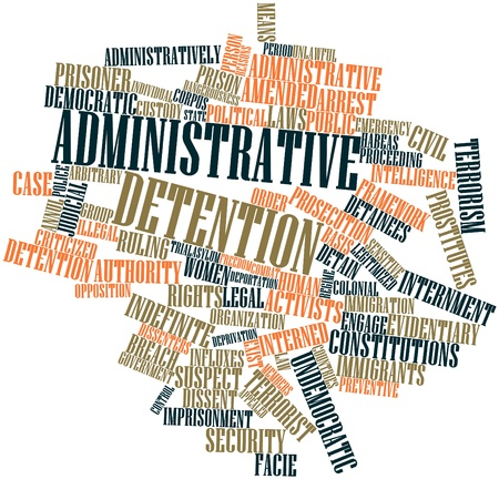 indefinite: Abstract word cloud for Administrative detention with related tags and terms