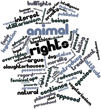 declarative: Word cloud astratto per i diritti degli animali con tag correlati e termini