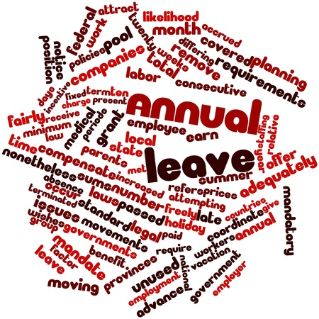 accrued: Abstract word cloud for Annual leave with related tags and terms Stock Photo