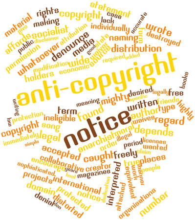 attribution: Abstract word cloud for Anti-copyright notice with related tags and terms