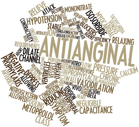nitroglycerin: Abstract word cloud for Antianginal with related tags and terms Stock Photo